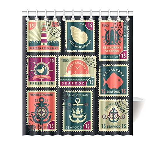 GCKG Vintage Stamp Anchor Shower Curtain Hooks 66x72 Inches Black Colorful Fabric Of Stamps Seafood Restaurants With Bird Lighthouse Ship Seashell