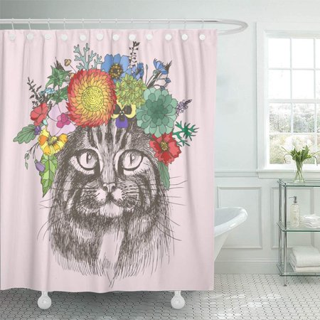 Design Hippie Cat (PKNMT Sketch Maine Coon Cat Portrait with Floral Wreath Separately from Your Design Hippie Waterproof Bathroom Shower Curtains Set 66x72 inch)