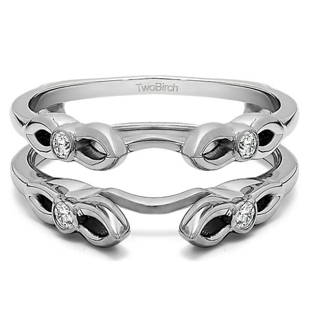 - White Sapphire in Sterling Silver Cathedral Infinity Designed Ring Guard (0.24ct)