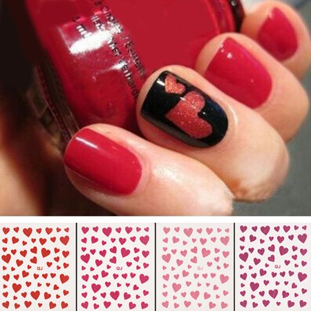 Moderna Fashion Love Heart Design Nail Art Sticker Decal Manicure Nail Tip - Black And Red Halloween Nail Art