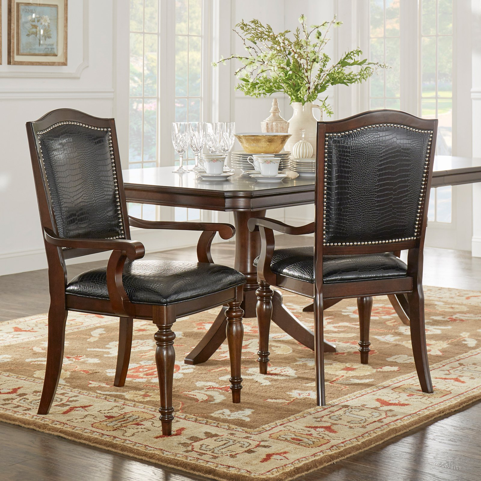 Homelegance Marston Alligator Faux Leather Nailhead Dining Armchair Set of 2 by Top-Line dba Homelegance