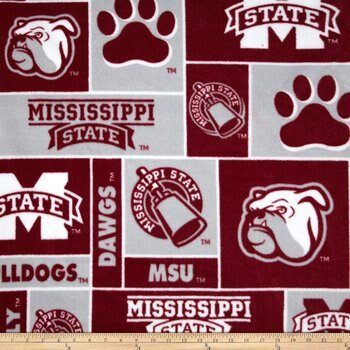 Boise State Fabric (Mississippi State University Super Soft Fleece Classic Geometric Design-Sold by the Yard )