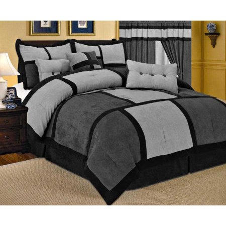 7 Piece Patchwork Gray Black Micro Suede Comforter Set King Size