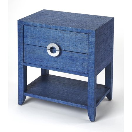 Navy Raffia - Blue - Rectangular - Natural Raffia, Plywood, MDF, Silver finished aluminum hardware - BUTLER AMELLE BLUE RAFFIA END TABLE - Raffia Table