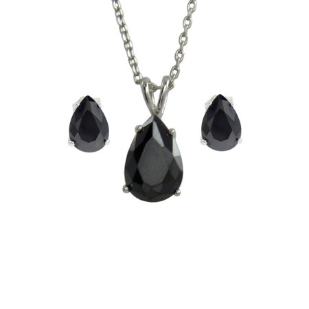- .925 Silver Pear Shape Black CZ Stud Earring & Pendant Necklace Set