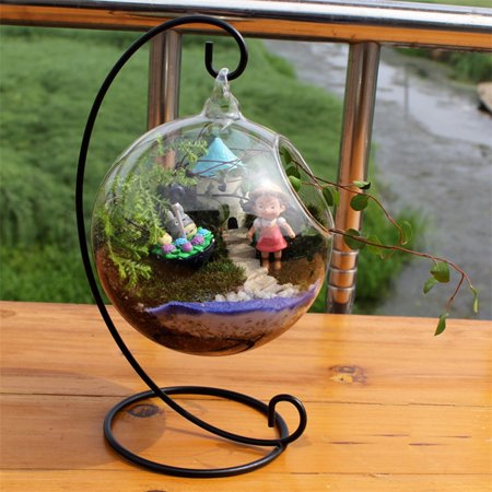Creative Clear Glass Ball Vase Micro Landscape Air Plant Terrarium Succulent Hanging Flowerpot Container (23cm iron frame + 10cm ball)](Hanging Glass Terrarium Containers)