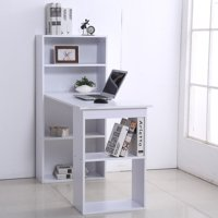 "Anself 47"" Modern Computer Desk and Bookshelf Set Home Office with 6-tier Hutch"