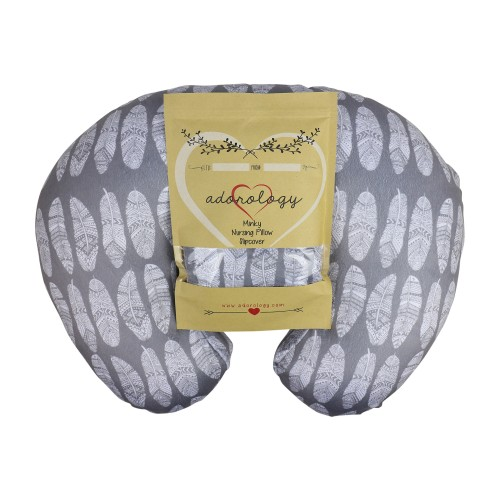 Minky Nursing Pillow Slipcover Gray Feathers Design Maternity Breastfeeding Newborn Infant Best Soft Feeding... by