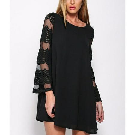 Women's Long Sleeve O-neck Solid Mesh Stripes Patchwork Full-skirted Short Loose Mini Dress