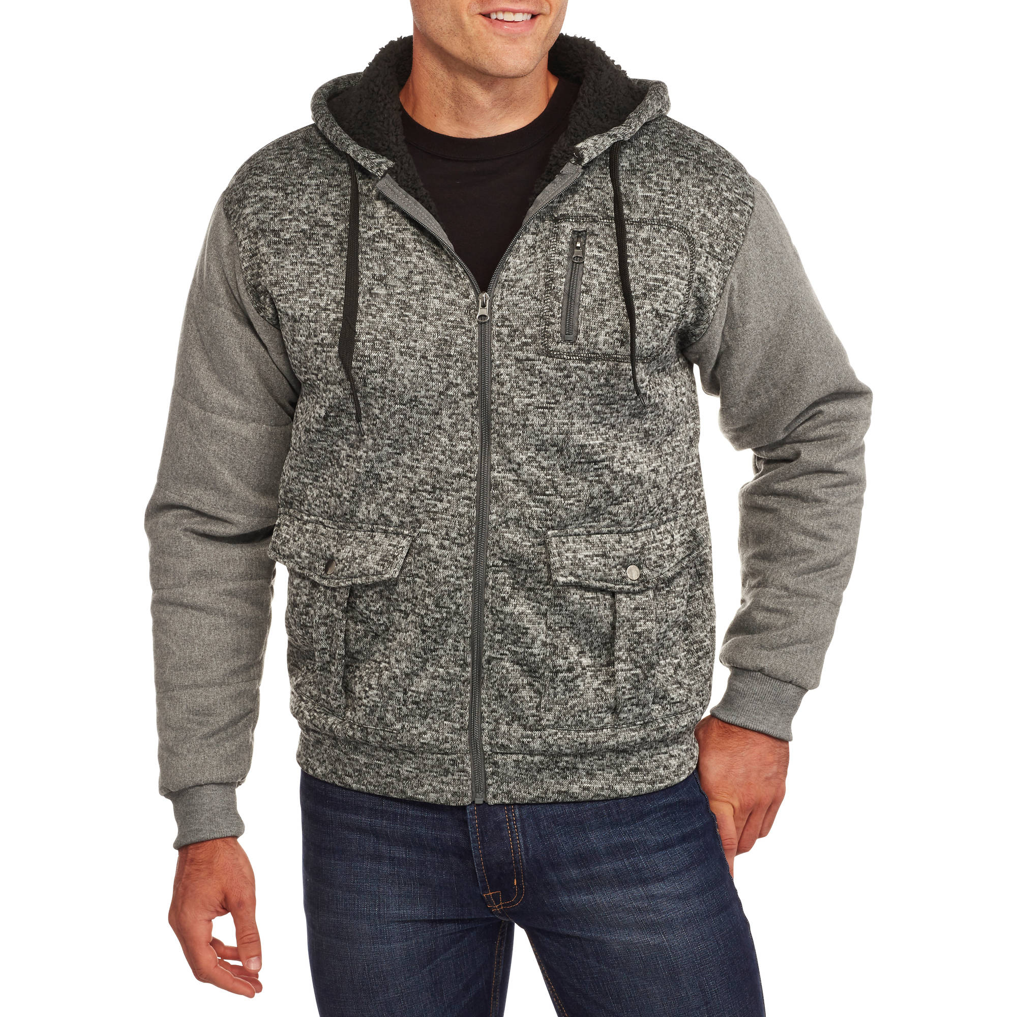 Men's Sherpa Hoodie with Contrast Sleeves