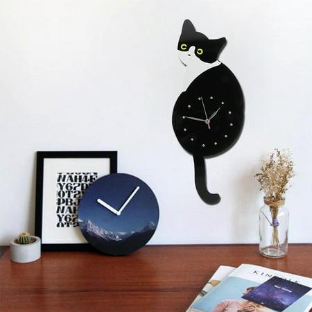 "20""Creative Wall Clock Cartoon Animal Classic Vintage Retro Cat Dog Swinging Tail Pendulum Home Living Room Bedroom Decor"