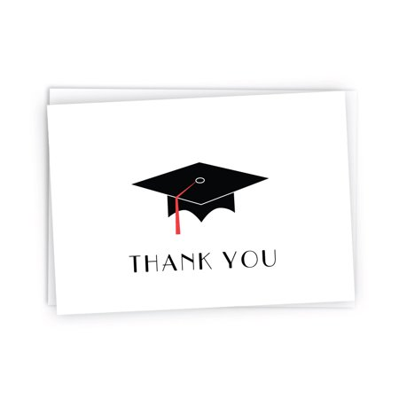 Graduation Cap Card Box (Graduation Cap with Colored Tassel Thank You Cards - 24 Cards & Envelopes)