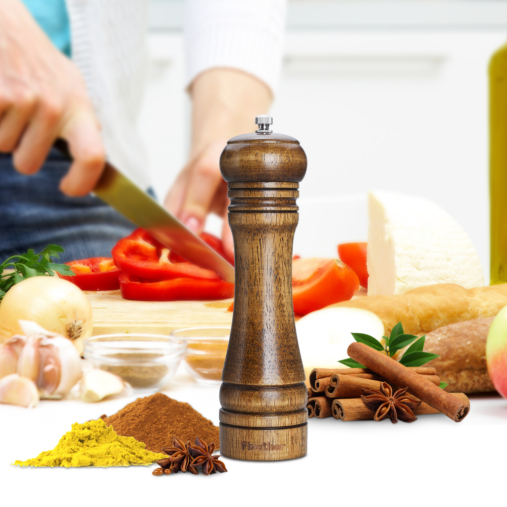 Finether 8.7in High Quality Adjustable Coarseness Classic Natural Wood Manual Spices Grinder, Salt and Pepper Seasoning Mill