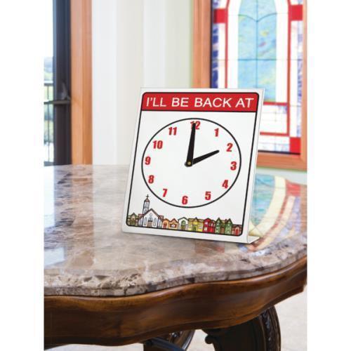 I'll Be Back At Clock Desk Sign, 5 x 8