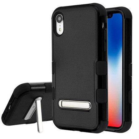 85w Apple - Apple iPhone XR (6.1 inch) (2018) Phone Case Tuff Hybrid Shockproof Impact Rubber Dual Layer Hard Soft Protective Hard Case with Magnetic Metal Stand Black Phone Case for Apple iPhone Xr (6.1