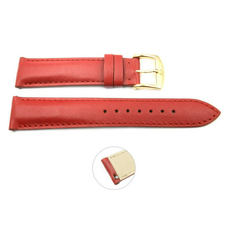 Ladies Interchangeable Strap (Quick Release 16mm Red Leather Smooth Watch Band - Interchangeable Womens Watch Straps)