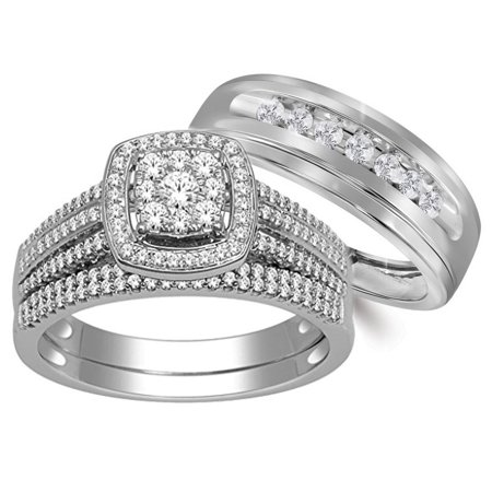 10k White Gold His And Her Rings Trio Wedding Set 3 4ctw Diamonds