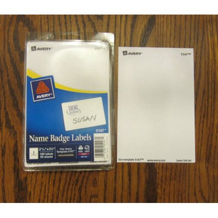 25 AVERY DENNISON WHITE NAME BADGES TAGS ID LABELS ADHESIVE PEEL LABEL STICKERS