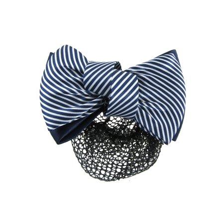 Woman White Blue 2 Tiers Striped Bow Decor Hair Clip w Hairnet Snood ()
