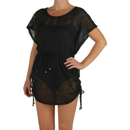 Catalina Women's Plus-Size Crochet Flutter-Sleeve Swim Cover-Up