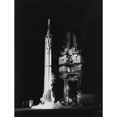 1961 - Mercury-Redstone 3 missile standing alone on launch pad Cape Canaveral Florida Poster Print (Cape Canaveral Lighthouse)