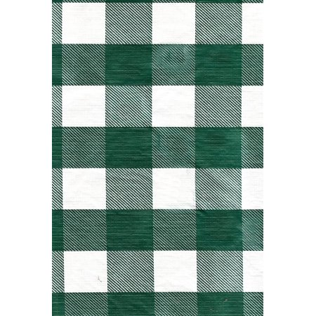Green White Check Vinyl Patio Tablecloth With Umbrella