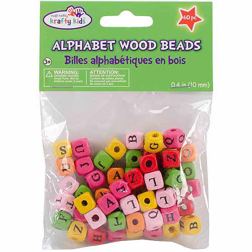 Wood Alphabet Beads, 10mm, 60pk