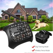 2 in 1 Dog Training Mode + Wireless Dog Fence Mode, Training Containment System Transmitter + 1 Receiver