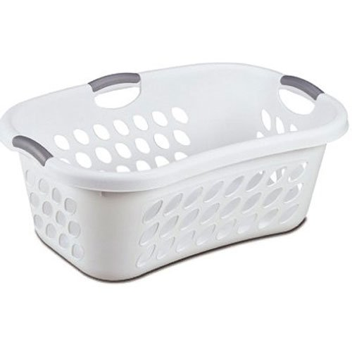 Hip Hold Plastci Laundry Basket, White with Titanium Handles, with White Plastci Titanium Handles Basket Hold Hip Laundry By STERILITE