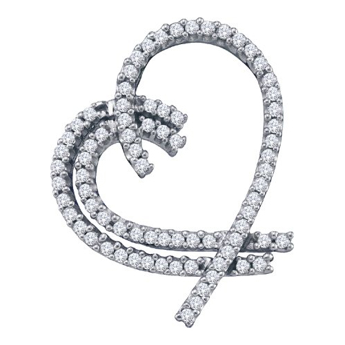 14K White Gold 0.75CT Elegant Shared Prong Round Cut Diamond Heart Pendant