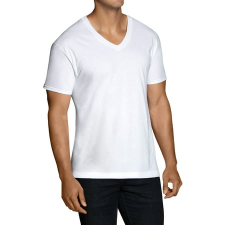 Mens Classic V-neck Sweater - Men's Classic White V-neck T-Shirts, 6 Pack