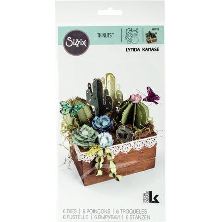 Sizzix Thinlits 2D  3D Dies By Lynda Kanase 6 Pkg 2D   3D Succulents
