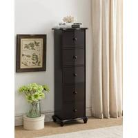 Declan Dark Cherry Wood Accent Display Chest Cabinet With 5 Storage Drawers
