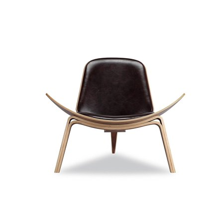 - OCC Shell Chair in Walnut Finish with Italian Genuine Black Leather