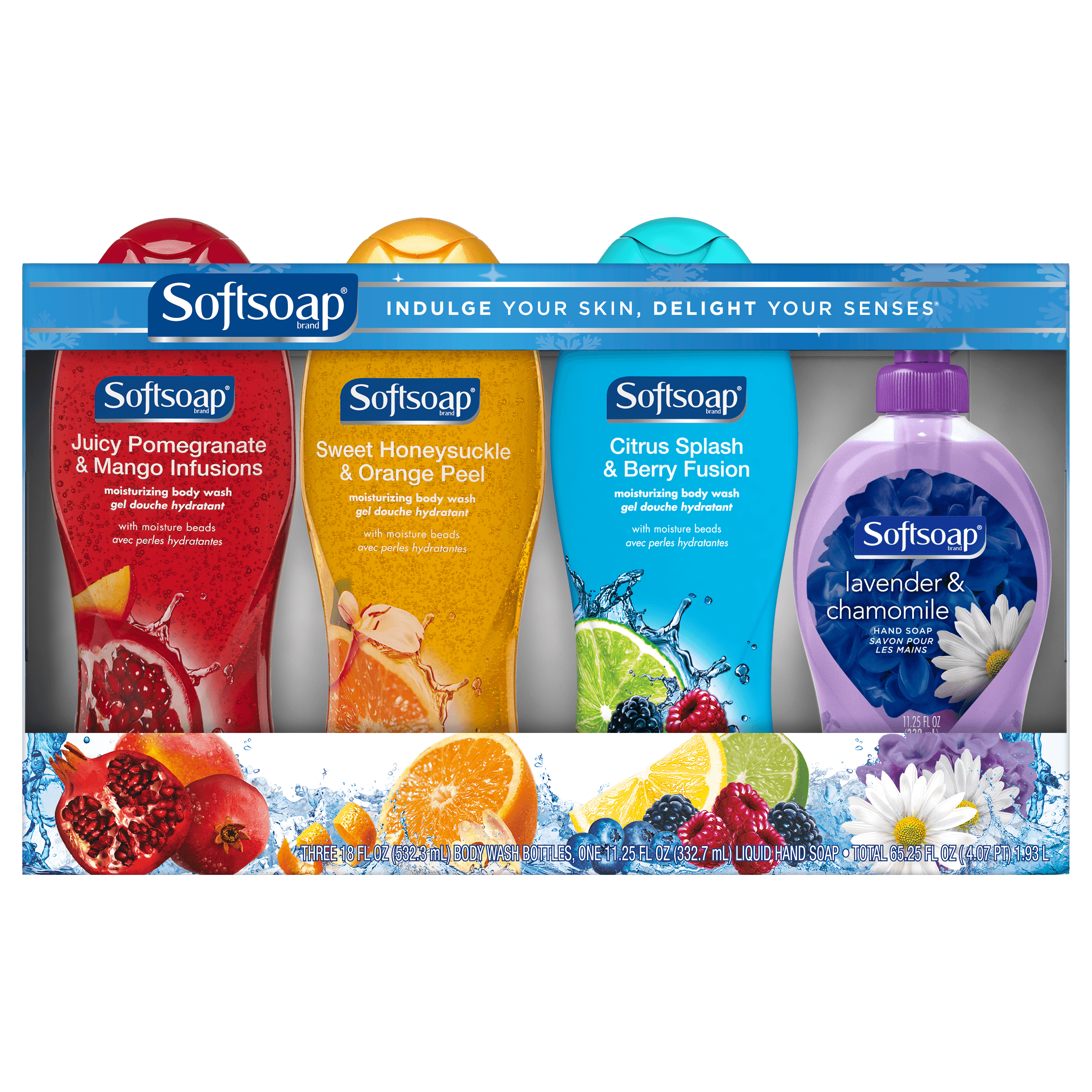 Softsoap Fragrance Body Wash & Liquid Hand Soap Gift Pack - 3 Body Washes, 1 Hand Soap