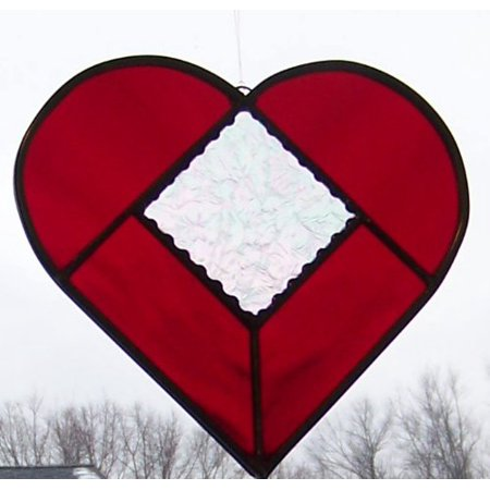 Iridized Stained Glass (Ruby Red and Clear Iridized Gluechip Stained Glass Heart 7 Inch, Hand Made in the US By The Avenue Stained Glass Ship from)