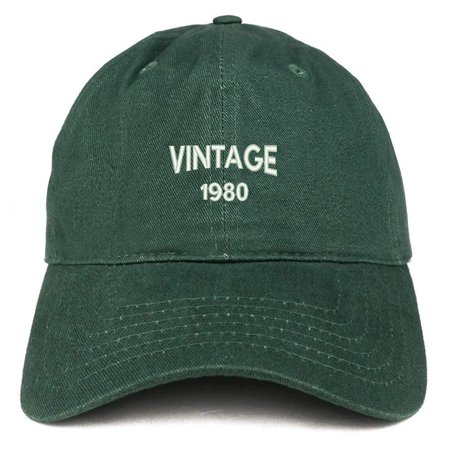 Trendy Apparel Shop Small Vintage 1980 Embroidered 38th Birthday Adjustable Cotton Cap - Hunter