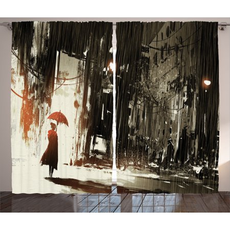 Fantasy Art House Decor Curtains 2 Panels Set, Woman with Umbrella in Rain Old Town Ruins Apocalypse Superhero Print, Window Drapes for Living Room Bedroom, 108W X 84L Inches, Ash Gray, by Ambesonne