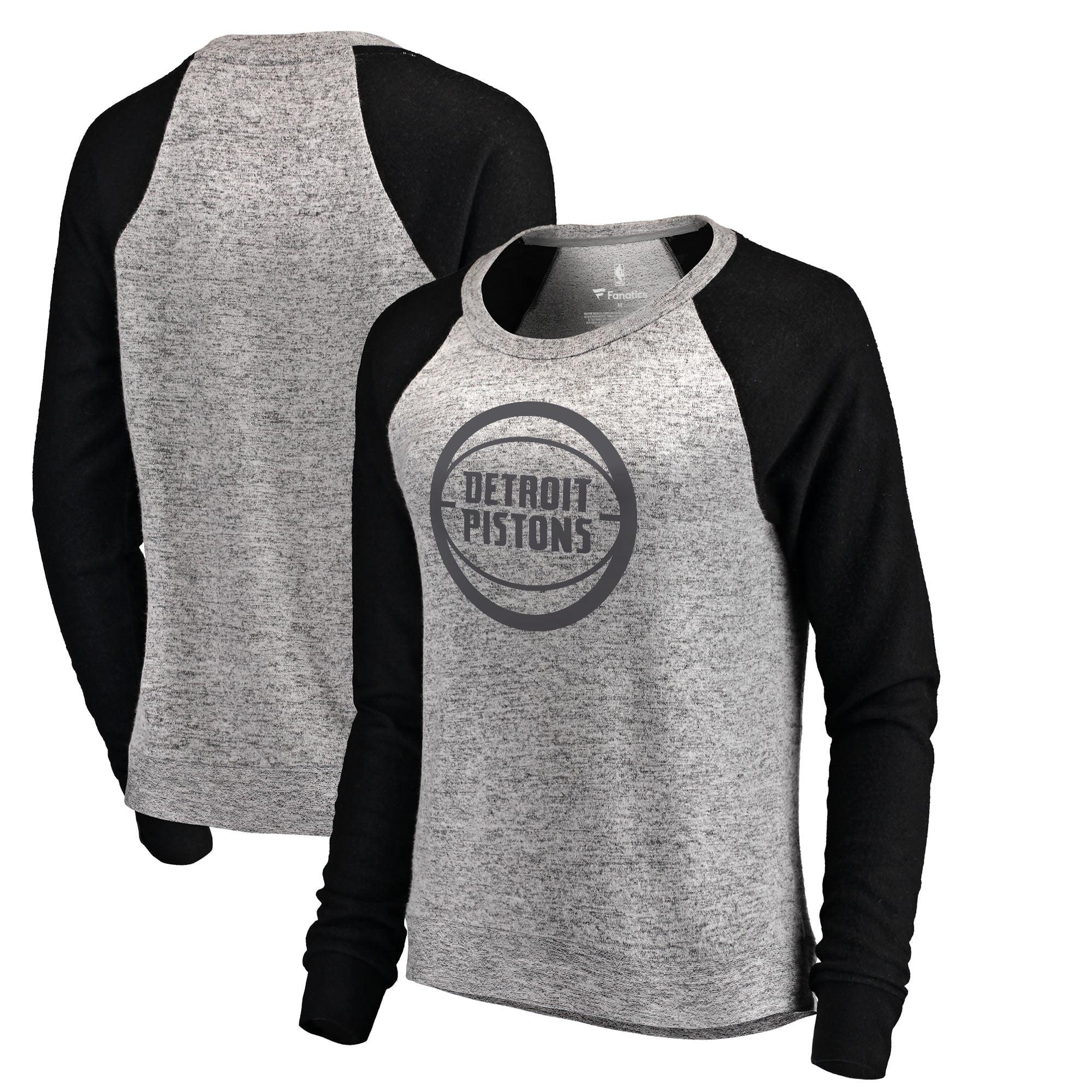 Detroit Pistons Let Loose by RNL Women's Cozy Collection Plush Raglan Crew Neck Sweatshirt - Ash/Black