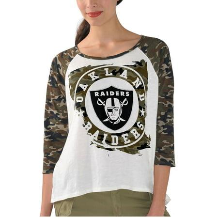Oakland Raiders G-III 4Her by Carl Banks Women's Field Goal Raglan 3/4-Sleeve T-Shirt -