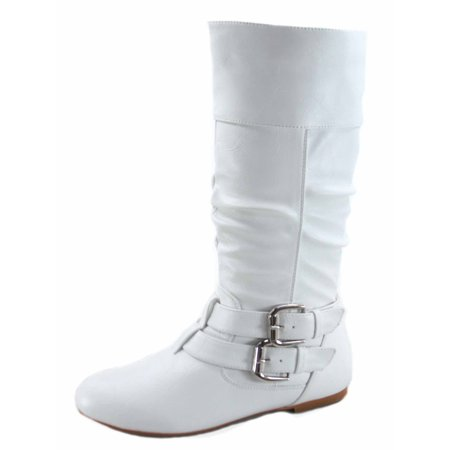 - Women's Caual Side Zip Buckles Slouch Flat Heel Mid Calf Round Toe Boots