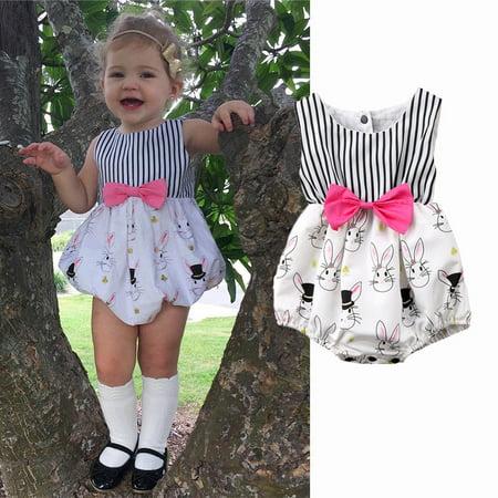 27d004f75c49 FUFUCAILLM - Newborn Baby Girl Infant Bunny Rabbit Cotton Romper ...