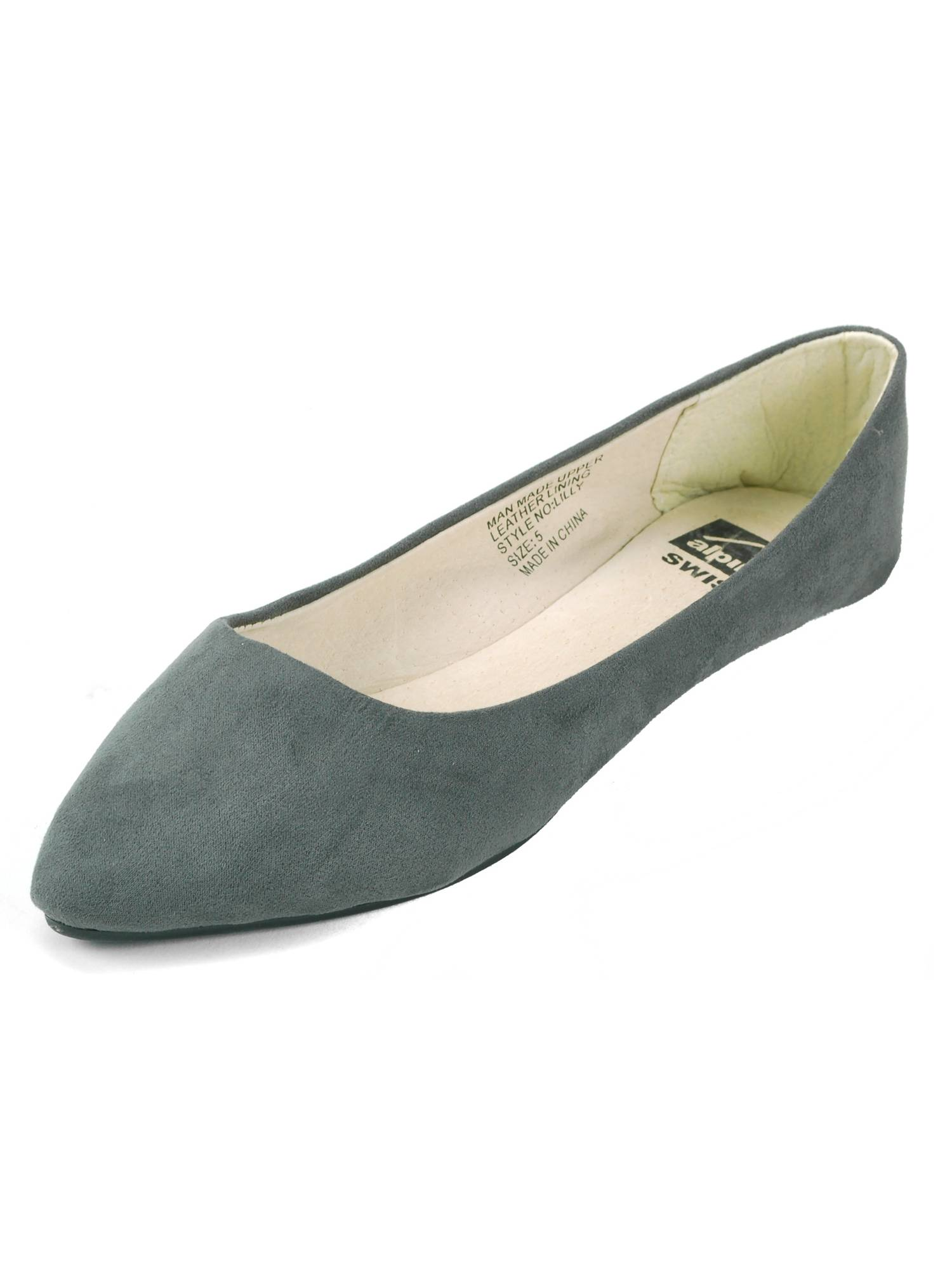 Alpine Swiss Lilly Women's Ballet Flats Pointed Toe Suede Lined Microsuede Shoes by alpine swiss