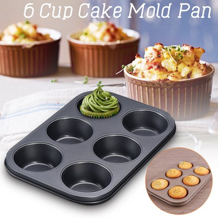 Cake Mold Carbon Steel Versatile Sturdy Nonstick Pan Muffin Cupcake Tray Mould Baking Tool ,6 Cups ,(Package in Kraft Box)