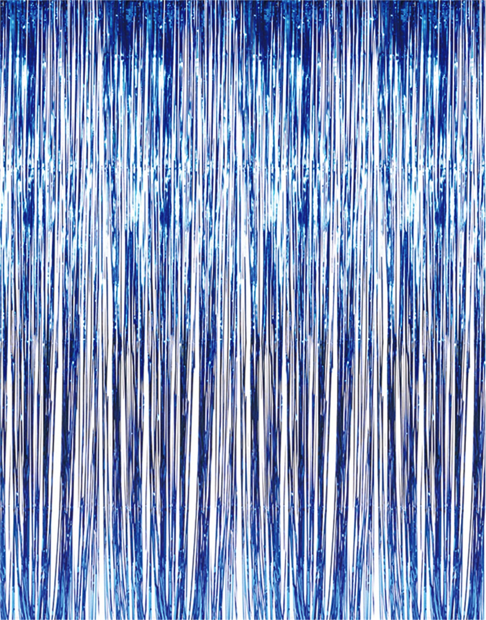 Shiny Blue Tinsel Foil Fringe Door Window Curtain Party Holiday Decoration