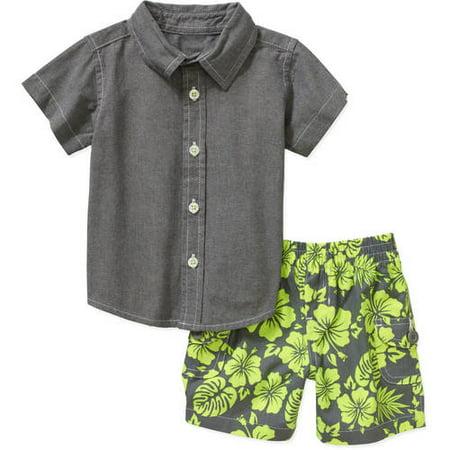 9df5b6941 Newborn Baby Boy Wove Button Down Shirt   Woven Shorts 2 Pc Sets ...