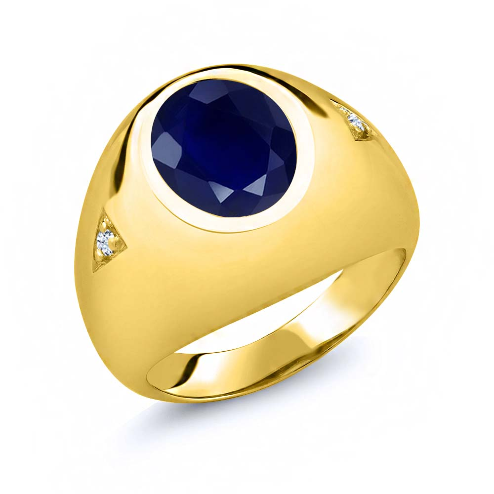 5.08 Ct Oval Blue Sapphire White Topaz 18K Yellow Gold Plated Silver Men's Ring by