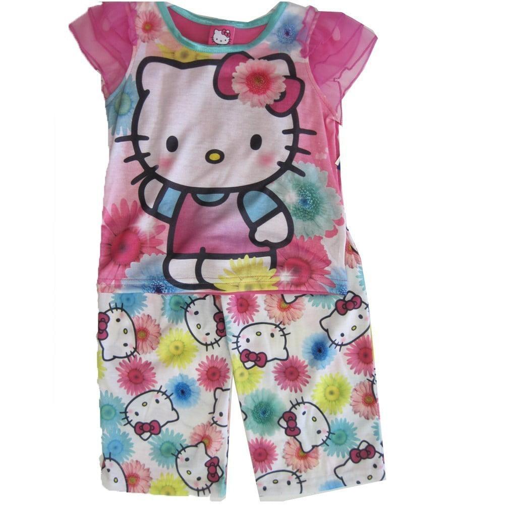 ABC Brand Name Inc. Hello Kitty Girls Fuchsia Kitty Floral Print 2 Pc Pajama Set 8 - 10