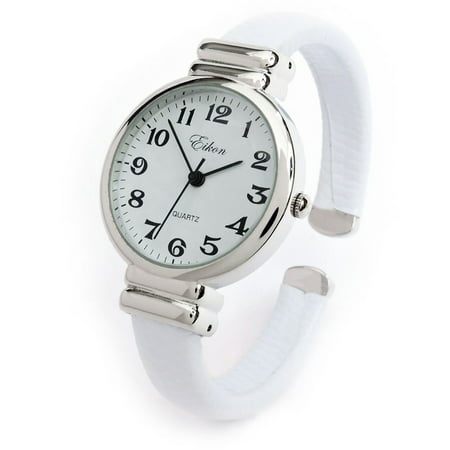 - White Snake Style Band Slim Case Eikon Women's Bangle Cuff Watch