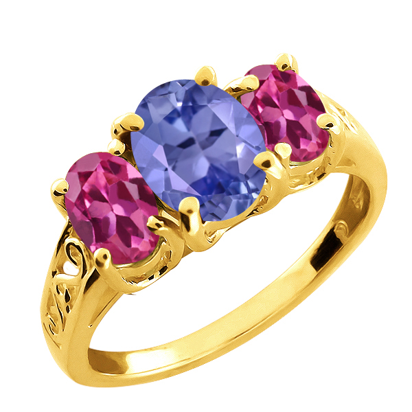 2.55 Ct Oval Blue Tanzanite and Pink Tourmaline 18k Yellow Gold Ring by